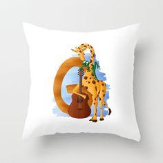 G comme Girafe Throw Pillow by Dinett illustration - $20.00