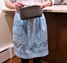 Blue Gingham Vintage Apron with Cross Stitch
