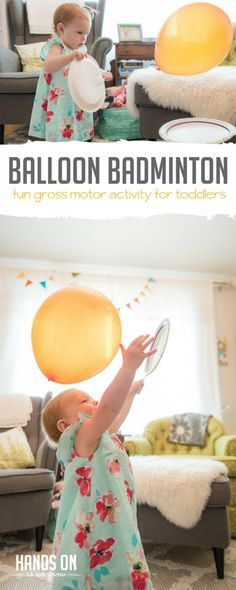 Play a game of balloon badminton with your toddler -- so much fun!
