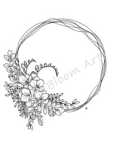 Freesia wreath line drawing, botanical print, hand drawn florals, illustration, black and white Tattoo Design Drawings, Ink Pen Drawings, Tattoo Designs, Wreath Tattoo, Wreath Drawing, Tattoo Zeichnungen, Line Drawing, Drawing Art, Cover Tattoo