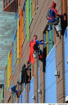 Superhero window washers at a children's hospital  http://www.comicsalliance.com/2013/02/04/uperhero-window-washers-children-hospital-video-pittsburgh/