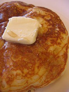 Copy Cat IHOP Pancakes! 1 1/4 c. flour, 1 tsp. baking powder, 1 tsp. Baking soda, pinch of salt, 1 egg, beaten, 1 1/4 c. buttermilk, 2 Tbsp. melted butter, 1/4 c. sugar