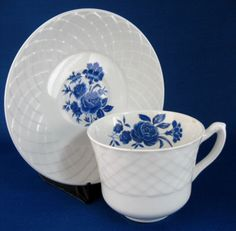 Cup And Saucer Blue Rose Wedgwood Ironstone 1950s Blue And White Tea Cup