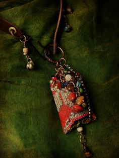 Bohemian gypsy cluster necklace vintage textile and by quisnam, $50.00