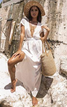 98316796485 Deep V-neck halter belt white beach maxi dress Fabric Names