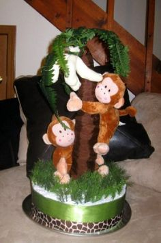 Diaper Cake. Twin Monkeys and Sock Bananas