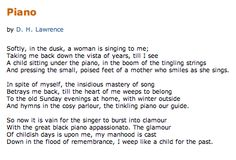 Essay on piano poem by dh lawrence