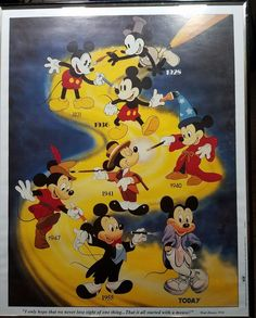 "Mickey Mouse Walt Disney 16""x20"" Poster  excellent condition.  These were the days growing up at this time was wonderful. Own a piece of history and bring back those days every time you think back.  Paper has brown tint from the years, stored with other fine sister posters which we will soon be offering.normal storage wear."