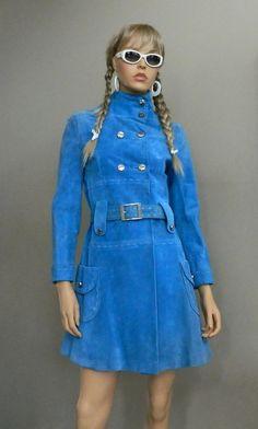 60's RARE Twiggy Suede Jacket Bright Blue Silver by SugarSlax, $259.00