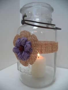 5 Purple Burlap Mason Jar Candle Centerpiece Wedding Party Decorations AU10 #BurlapBrides
