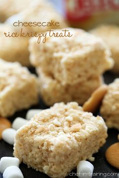 Cheesecake Rice Krispy Treats from chef-in-training.com ...a delicious and exciting new spin on traditional rice crispy treats! The flavor i...
