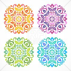 Similar Images, Stock Photos & Vectors of Ornamental round floral pattern. Set of four colorful ornament - 103161836 Zentangle, Wallpaper Flower, Wallpaper Computer, Free Vector Clipart, Simple Mandala, Mandala Art Lesson, Small Tattoos With Meaning, Mandalas Drawing, Cartoon Coloring Pages