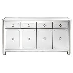 Beautiful beveled mirrored buffet with clean lines outlined in hand applied silver leaf. Simplicity Buffet, $1,299.00 #zgallerie