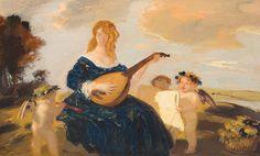 Hengeler, Adolf (1863-1927) - Lautenspielerin