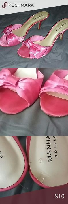 Bright pink Manhattan Collection heels 8 1/2 They are 3 inch heels and are in good condition except for the mark on the heel of one, which is shown in the 3rd  picture. Manhattan Collection Shoes Heels