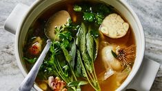 Sick days (real ones at least) are unpredictable so having a back-pocket broth that doesnt require recipe planning should be part of your medicine cabinet. Cilantro, Eat When Sick, Sick Food, Using A Pressure Cooker, Detox Soup, Soups And Stews, Bon Appetit, Feel Better, Soup Recipes