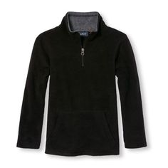 s Boys Long Sleeve Solid Half-Zip Mock Neck Fleece Pullover - Black - The Children's Place