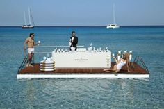 floating bar - This elegant Moët & Chandon floating bar is designed to resemble a striped inner tube that is covered with a table-like platform. The luxury C. Moet Chandon Ice, Imperial Life, Champagne Bar, Pool Bar, Beach Bars, Experiential, Beach Club, Summer Fun, Surfing