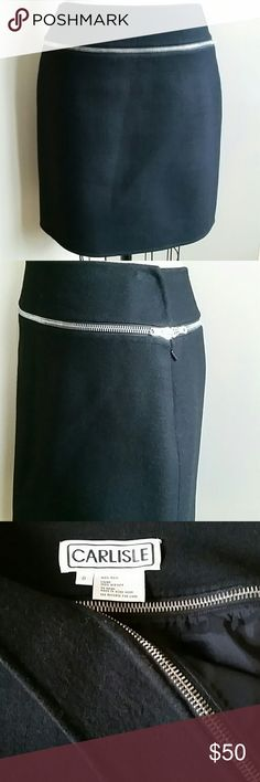 """Skirt Felted Wool Black Carlisle 6 Beautifully made, luxurious non-itchy 100% thick wool, lined, invisable side zip, decorative silver metal zipper on lower waist band, top of band 14"""" , bottom of band 17"""", hips approximately 20"""", length 19"""". Excellent condition. No pilling and looks nicer in real life. Carlisle  Skirts Pencil"""