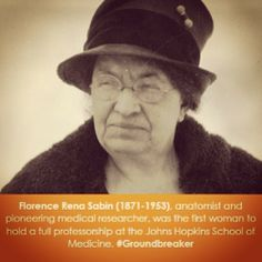 Women in Science: Florence Rena Sabin, anatomist & pioneering medical researcher, was the first woman to hold a full professorship at the Johns Hopkins School of Medicine. #Groundbreaker @smithsonianarchives