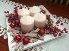 Holiday Red Candlestick Art Design Ideas Candlestick is an essential accessory to create a amazing mood that can create a holiday atmosphere in our home. Here are more than 50 ideas share to you. Christmas Advent Wreath, Christmas Table Centerpieces, Noel Christmas, Christmas Candles, Xmas Decorations, Winter Christmas, Christmas Crafts, Theme Noel, Candlesticks