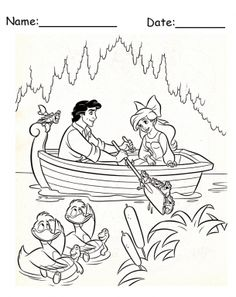 Prince Eric and Ariel Disney Printable Coloring Pages