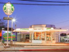 A Hollywood Starbucks Location Takes Over a 1930s Gas Station #architecture trendhunter.com