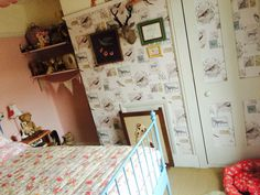Vintage kitsch bedroom painted ikea bed
