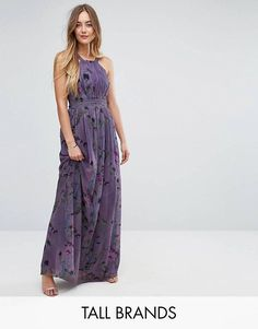 Little Mistress Tall All Over Floral Trophy Maxi Dress - Multi Maxi Dress Wedding, Bridesmaid Dresses, Dress Prom, Floral Bridesmaids, Skater Dresses, Floral Evening Dresses, Tall Dresses, Ruched Dress, Latest Fashion Clothes