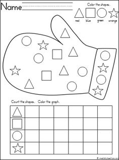 Free mitten themed activity for your Kindergarten students to practice shapes and graphing. It is a wonderful math activity for any winter month for Pre-K and Kindergarten.