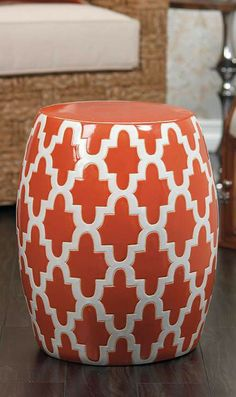 Add extra seating or side table and a pop of color to any indoor or outdoor space with the Santa Monica Garden Stool!