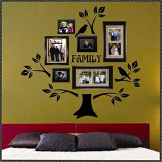 I can paint this on the wall instead - either above the coach or the dining room wall--but you can buy the Vinyl Wall Lettering Decal Graphic Large Family Tree Kit with Branches Leaves Birds. $29.50, via Etsy