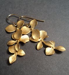 def14e9c4 Gold orchid drop earrings. (Matte gold). Etsy Blackandwhite Jewelry  Bridesmaid Earrings,