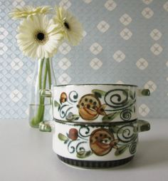 Two Vintage Soup Bowls with Green and Brown Retro Floral Design by Boch 60s door Vantoen op Etsy
