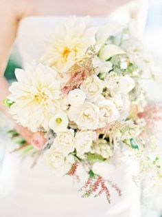 What do you think of this bouquet? It has many of your flower choices, but we'd add in more grey/blue w/ the eucalyptus and dusty miller