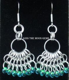 Mermaid Tails Chainmaille Earrings by kissthemoongems on Etsy, $25.00