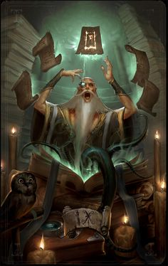 Crazy mage casting a spell while his owl wigs out in the corner. Cliche simce the dude is a dude, old and white with a long white beard, but it's fun and beautiful artwork anyway. MajorArcana IX by ArtofTy on deviantART