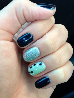 Christy C's @sasssycc @aprilsnailz | CND Shellac Midnight Swim + Mint Convertible + polka dots (silver chrome & studio white). Shellac nail designs. Nail art. **Leave the credits and details as these are someone's nails!**