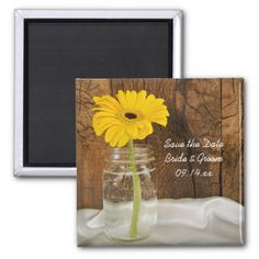 Yellow Daisy in Mason Jar Wedding Save the Date Magnet