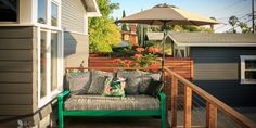 Under the flexible Cantilever Umbrella, enjoy the sun from this creative lounging space featuring various patterns and pops of color.
