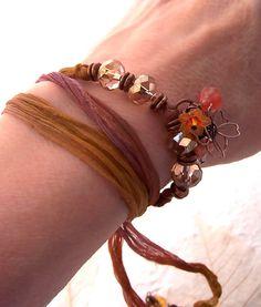 Sari Wrap Bracelet Upcycled Silk Ribbon Bracelet by Phoebedreams, £16.00