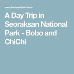 A Day Trip in Seoraksan National Park - Bobo and ChiChi