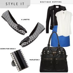 Linette-A whole wardrobe around the houndstooth shoe, so cute.