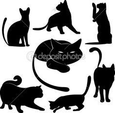 Black cat silhouette collections — Imagens vectoriais em stock #3036123