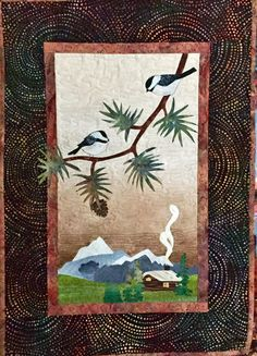Landscape Quilted Fiber Wall Hanging of Chickadees, Log Cabin, Mountains, Pine Tree Branches, Handmae Fiber Art Applique Fabric, Green Brown by MulberryPatchQuilts on Etsy