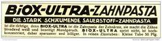 Original-Werbung/ Anzeige 1929 - BIOX ULTRA ZAHNPASTA - ca. 120 x 30 mm