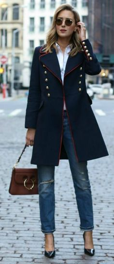 Just a pretty style | Latest fashion trends: Fall fashion | Jeans, blouse and button up navy coat