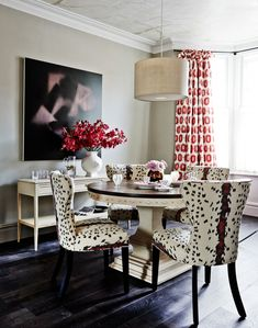 Traditional dining room with tribal print accents