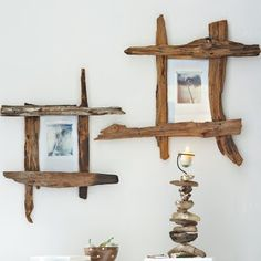 Creative ideas for simple DIY driftwood frames.
