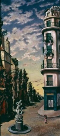 "ArtG023. Dorothea Tanning ""A Parisian Afternoon (Hôtel du Pavot)"" 1942, Oil on canvas, 40 1/2 x 17 3/4 in."